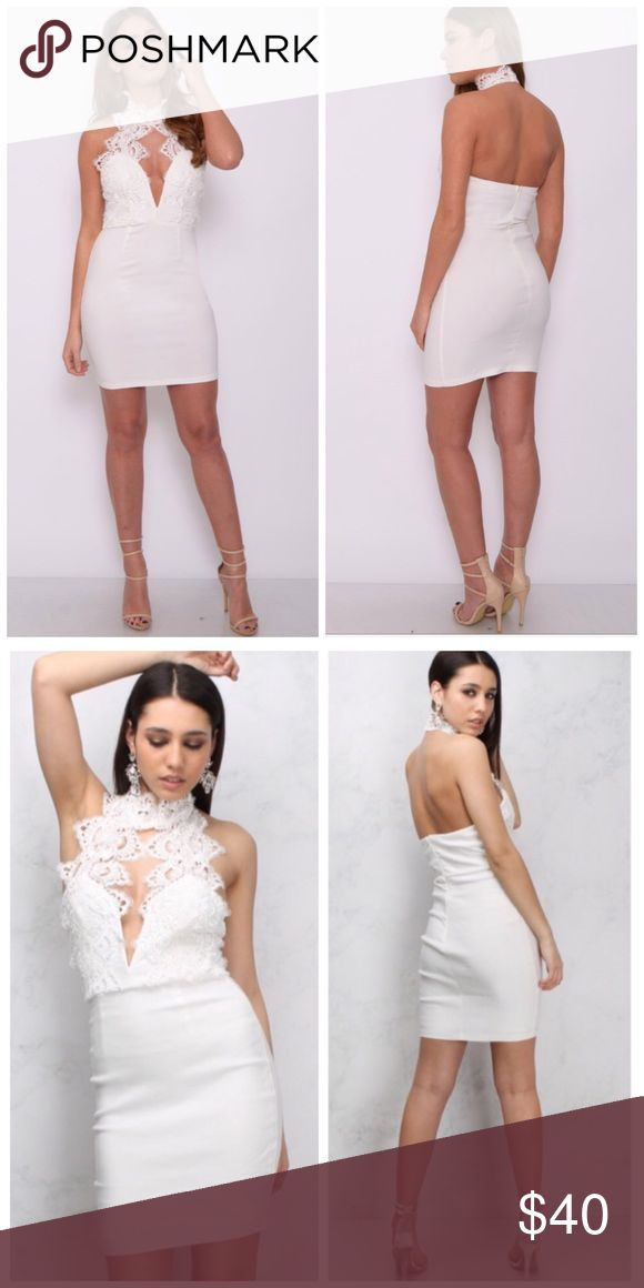 NWT Rare London White Lace Plunge Dress UK 10/US 6 • Perfect for a bridal shower, bachelorette party, formal, parties, etc! This brand is also sold at Topshop, ASOS, and Nastygal. This exact dress in black is selling at ASOS currently for $78. Rare London Dresses