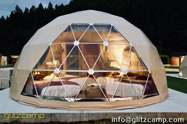 Dia 6m Geodesic Glamping Dome Kit With Bay Window For Luxury Camping Experience On Mountain With Beautiful Nature Sc Tent Glamping Geodesic Dome Homes Geodesic