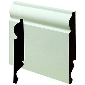 Wickes Dual Purpose Primed MDF Torus/Ogee Skirting 18 x 144 x 2400mm  This wide skirting would be right everywhere