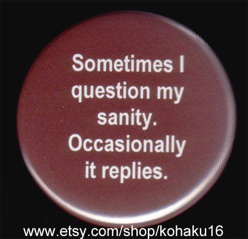 Button About Questioning My Sanity by kohaku16 on Etsy, $3.00