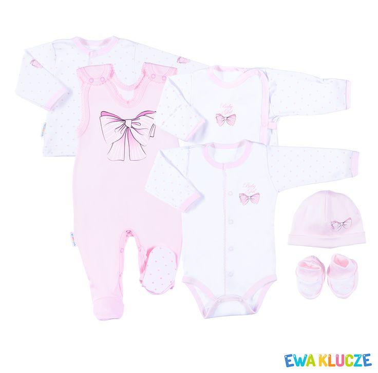 EWA KLUCZE, kolekcja CLASSIC BABY, różowy komplet dla dziewczynki, ubranka dla dzieci, EWA KLUCZE, CLASSIC BABY collection, pink baby girl set, baby clothes
