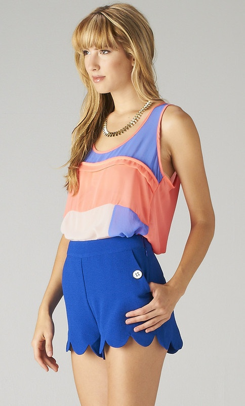 Cobalt Blue Scalloped Shorts ... official color of the summer  :) -Kim