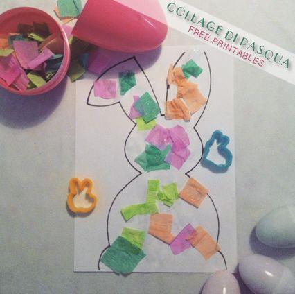 Easter Collage activity - Montessori inspired. Collage di Pasqua + free printables immagini gratis da colorare - coloring pages