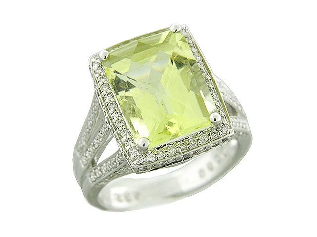 .96 ct Pave Diamond & Square Green Topaz 18k White Gold Ring