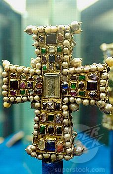 , Byzantine cross preserved in the treasure museum of Notre Dame cathedral. Tournai. Hainaut, Belgium
