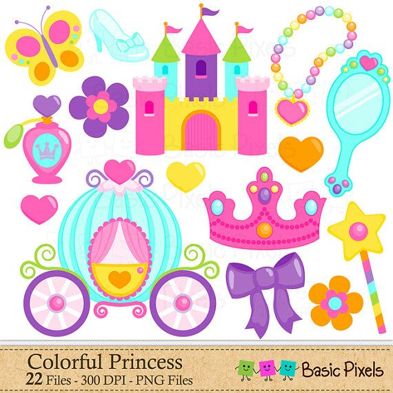Colorful Princess Clip Art  Princess clipart por basicpixels