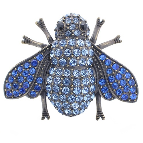 Vintage Style Sapphire Bumble bee Blue Insect Pin