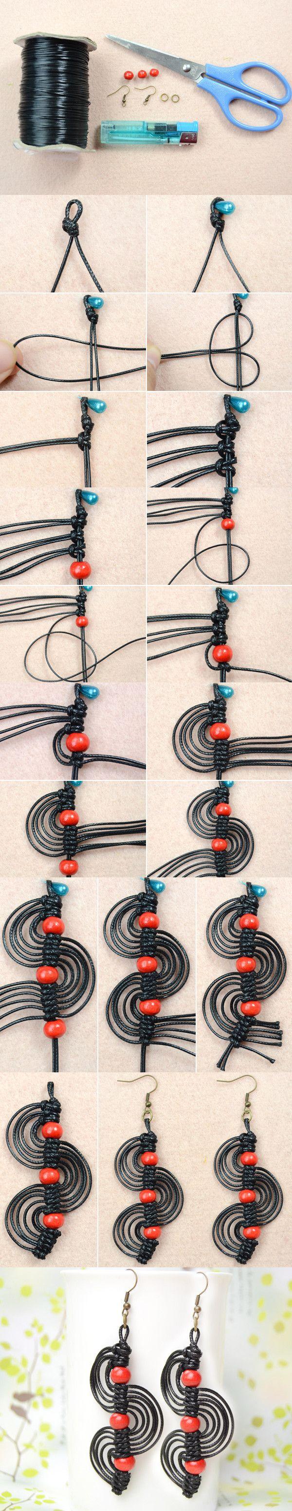 Micro Macrame Earrings Tutorial-DIY Black Macrame Spiral Earrings with Red Wood Beads from LC.Pandahall.com    #pandahall