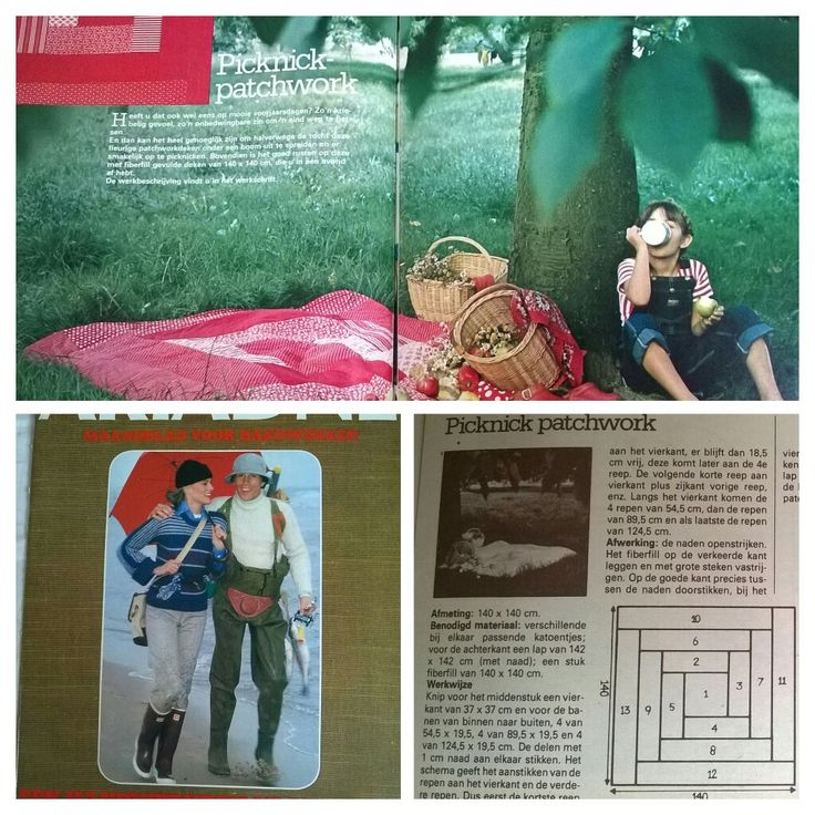 Picknickdeken in patchwork. Ariadne april 1977.