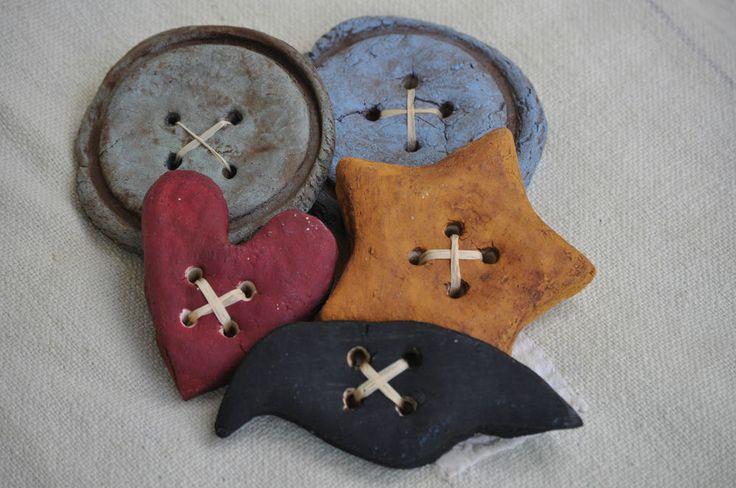 Handmade Salt Dough Primitive Folk Art Bowl Fillers Buttons, Heart, Crow, Star #Country
