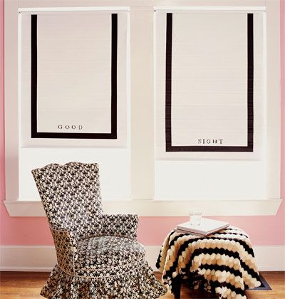 Have fun with your window treatments. These easy, roll-up shades get a boost of personality with a message and simple, black trim.