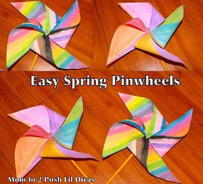 Spring Craft: Easy Kid's Pinwheel from Mom to 2 Posh Lil Divas