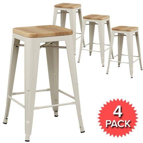 Set of 4 - Tolix Premium Bar Stool Timber Seat - 66cm - Xavier Pauchard Reproduction - White Milan Direct