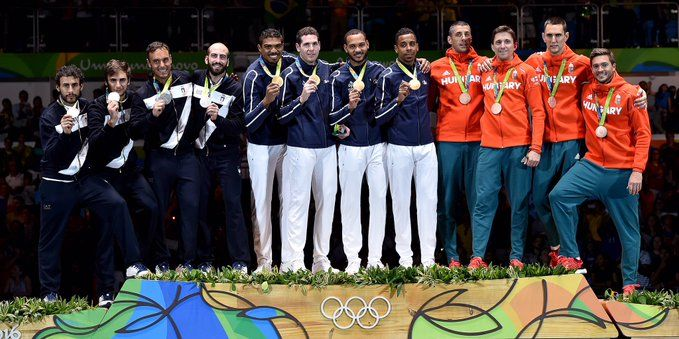 Rio 2016 Olympics Men's Team Epee France Gold, Italy Silver,  Hungary Bronze
