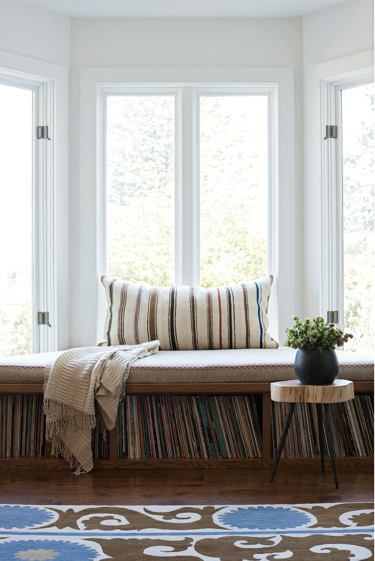 San Francisco Interior Design company Regan Baker Design - Duboce Park Modern Industrial Vinyl Record Storage, Built In Bench Bay Window Seating, Midcentury