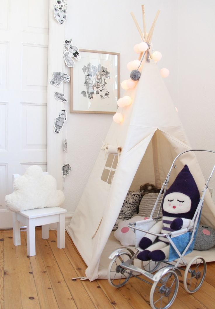 Kid teepees are just so cute. We love the stuffy sitting on that little stroller too.