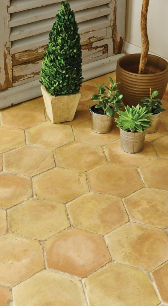 Handmade Terracotta hexagons are shaped by hand and baked in the sun. Perfect for a warm look on floors in conservatories or throughout the home. Part of Original Style's Earthworks collection. originalstyle.com