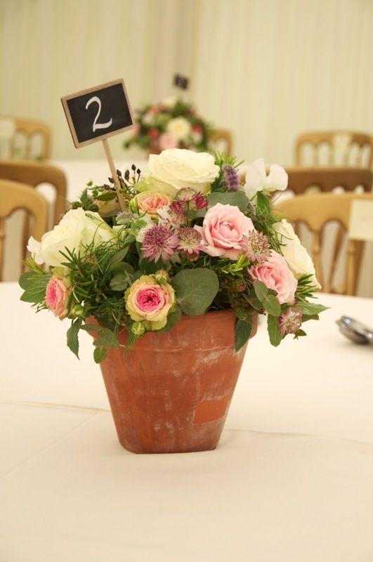 Blumen + alte Terracotta-Töpfe