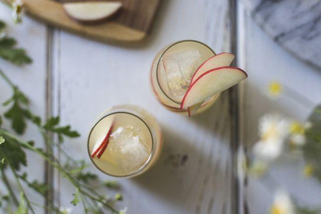 Two glasses of white nectarine prosecco sangria