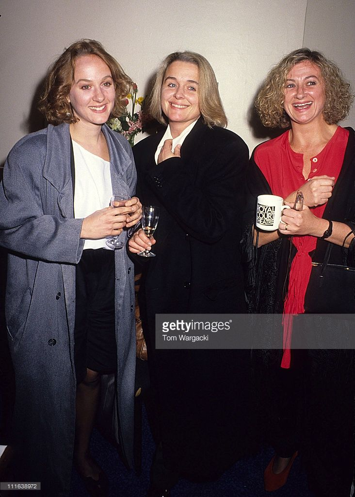 London October 1989. Niahm Cusack, Sinead Cusack and Sorcha Cusack at Royal Court Theatre.