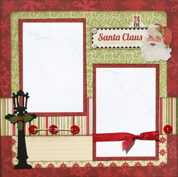 christmas scrapbook layouts | Premade Scrapbook Page 12 x 12 Christmas Layout - Santa Claus is ...