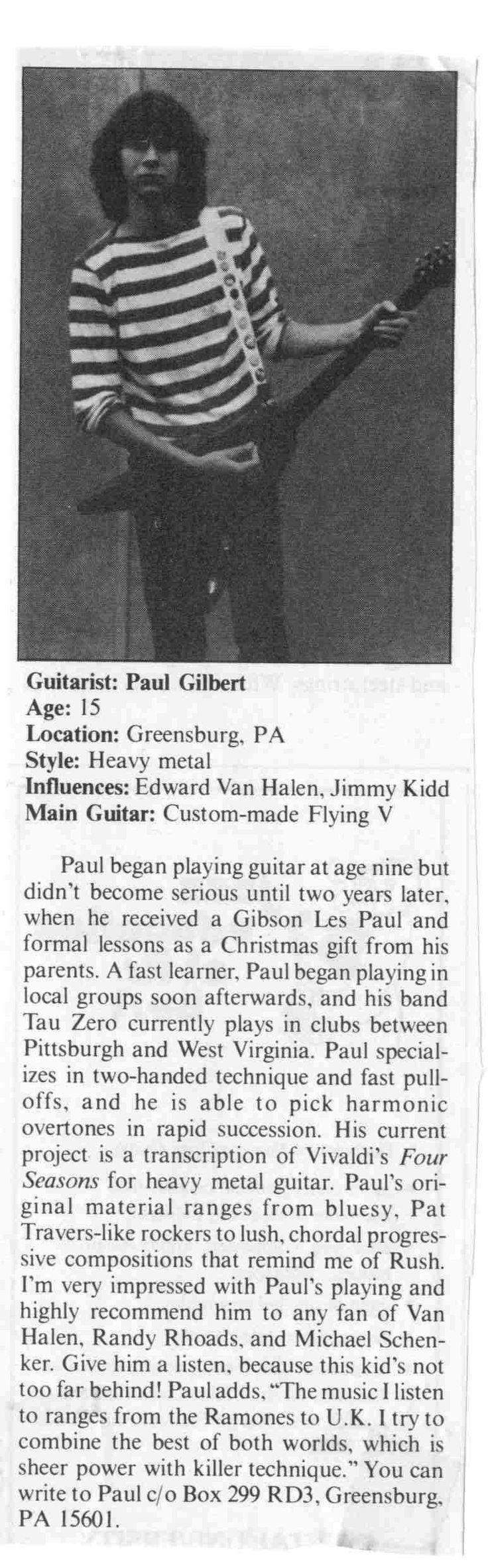 Original Paul Gilbert Spotlight appearance!