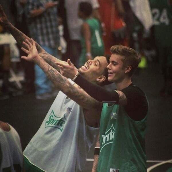 Justin Bieber & Chris Brown At BET Basketball Game