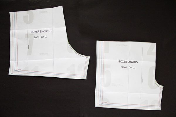 Print out and tape together the boxer short pattern pages.