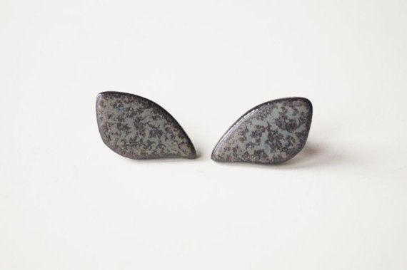 SALE 25% Off Grey Ceramic Earrings Large Ceramic Studs by bemika