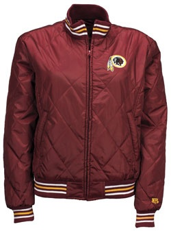 LADIES SHOTCLOCK QUILTED REDSKINS JACKET- reminds me of my dads from years ago. NEED THIS!
