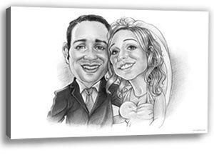 Kein Hochzeitsspiel aber ein ganz individuelles und persönliches Hochzeitsgeschenk auf Leinwand. Das Braupaar gemalt auf eigenem Hochzeitsgeschenk.