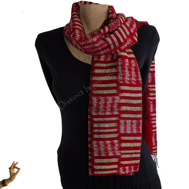 Red Mudmee Style Silk Scarf