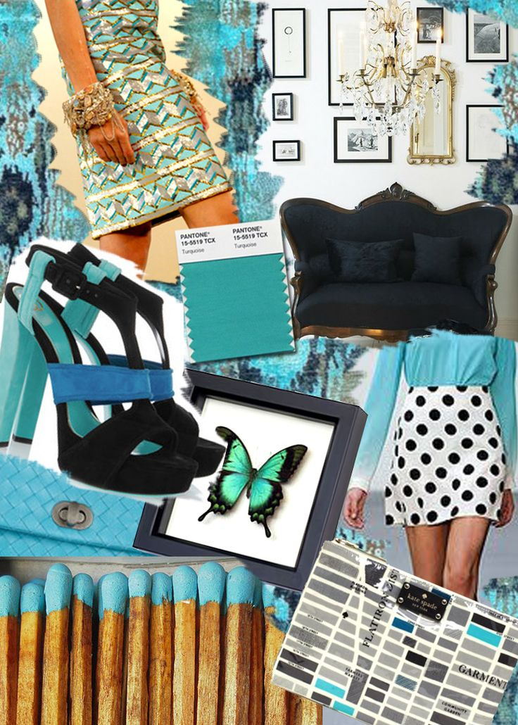 Love the polka dot skirt with the turquoise shirt! turquoise, gold, black, cobalt mood board from kate spade