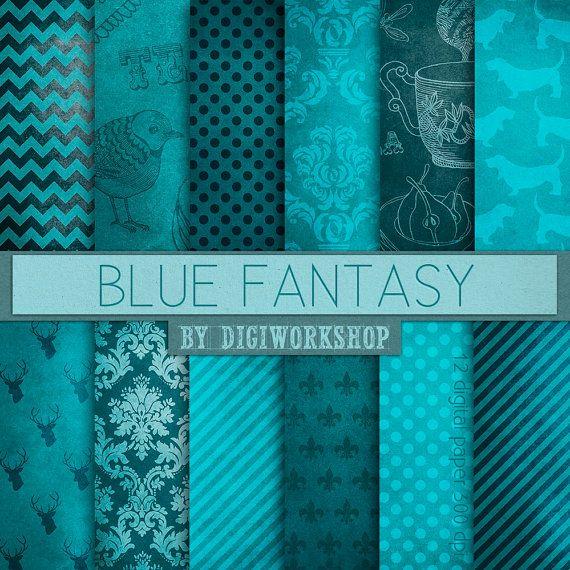 Blue digital paper -  Blue Fantasy with chevron, stripes, polka dots, damask, stripes, fleur de lys, dots, deer, dog.