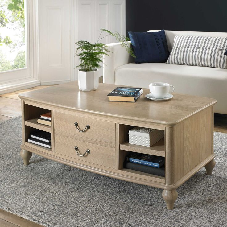 Create A Stunning Focal Point In Your Living Space With The Charente Coffee Table Crafted From American Oak And Featuring Rustic Chalk Finish