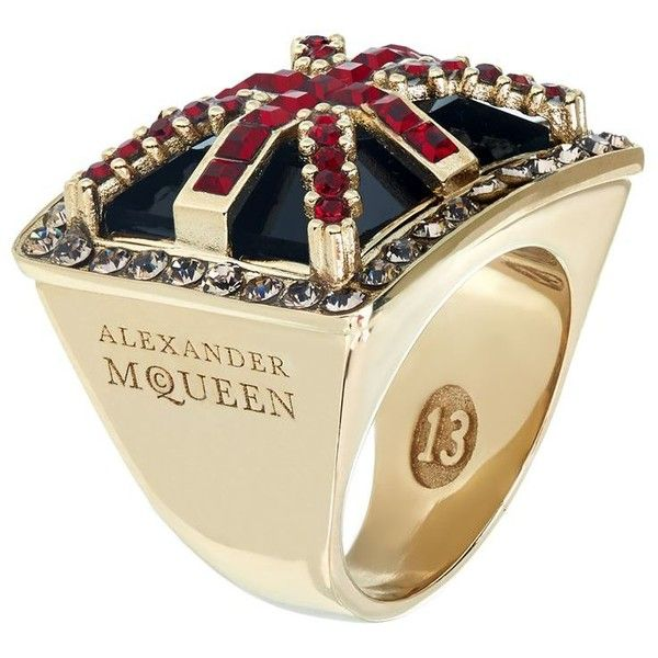 Alexander McQueen Britannia Ring (7,880 MXN) ❤ liked on Polyvore featuring jewelry, rings, alexander mcqueen, alexander mcqueen ring, brass jewelry, gold tone jewelry and swarovski crystal rings