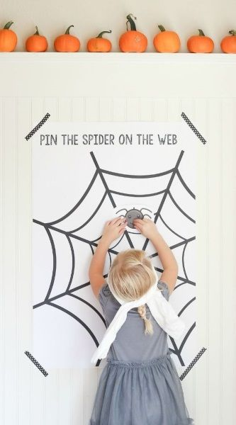 "Pin the Spider on the Web"" Game This is such a cute game and the spider wed itself is already a decoration for the wall."