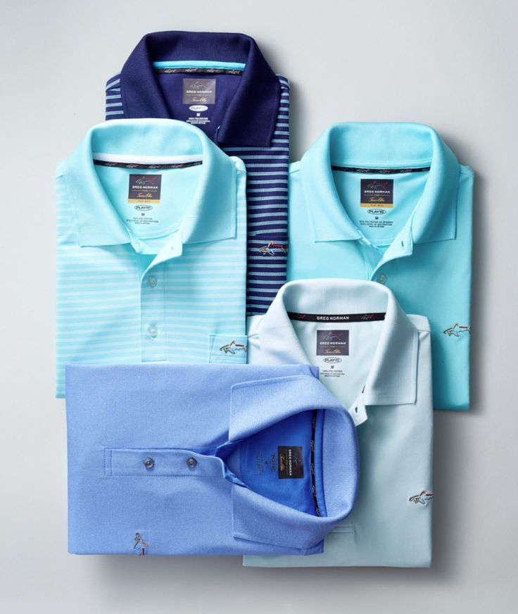 Send him out of the door Friday morning with a crisp blue polo. Perfect for the business casual look, pair them with office-appropriate denim or casual chinos for a new take on corporate cool — Greg Norman for Tasso Elba