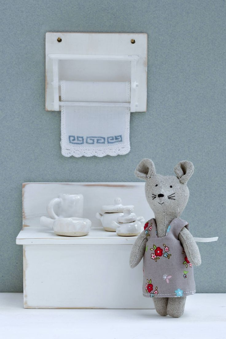 Dollhouse Furniture- Miniature Kitchen With Cute Linen Mouse. by KrasnoludyZnadWisly on Etsy