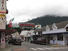 Ketchikan, Alaska. Cute and interesting little town. Their school playground was under the school so the children could still play outside during rainy weather!
