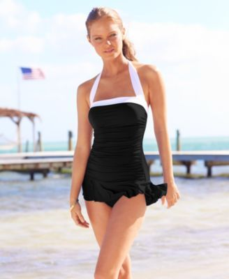 Lauren Ralph Lauren Halter Ruched Tummy-Control Swimdress