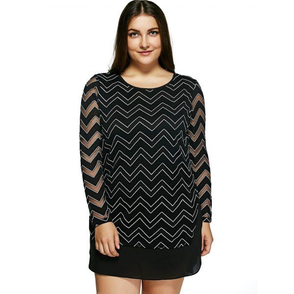 Oversized Trendy Chevron Print See-Through Dress — 24.71 € ------Size: 5XL Color: BLACK