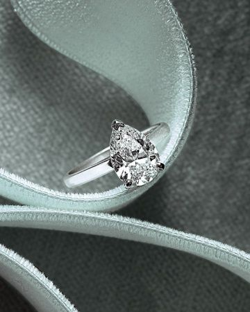 Pear-Shaped Diamond Engagement Ring  ~~  Pear-Shaped Diamond Engagement Ring  ~ A simple band puts the focus on De Beers's pretty pear (debeers.com).