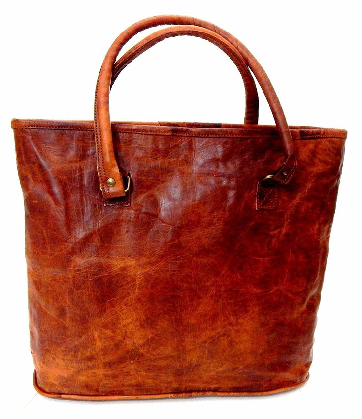 Firu-Handmade 17' Women Vintage Style Genuine Brown Leather Tote Shoulder Shoppers Bag Handmade Purse ** You can get more details here