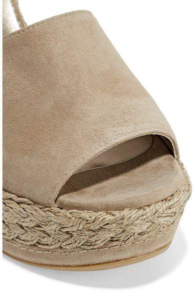 Stuart Weitzman - Sohogal Suede Espadrille Wedge Sandals - Beige - IT38.5