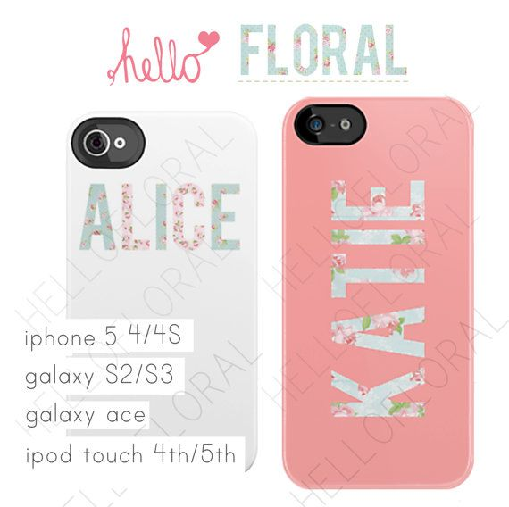 Personalised Name floral  iPhone 4/4S 5 Samsung by hellofloral, £15.00