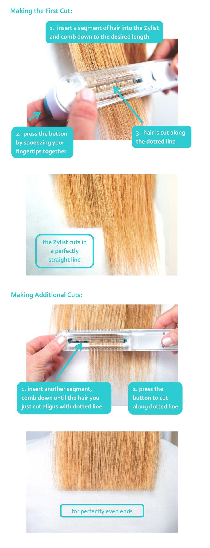 Zylist is the first trimmer designed for longer hairstyles. Use it for trims between salon cuts, bang trims, kids cuts and creating layers. remove split ends.