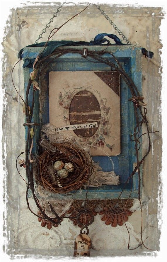 Mixed Media Assemblage by Mosshillstudio on Etsy.  Pretty much anything with a bird's nest and a scripture wins me over.