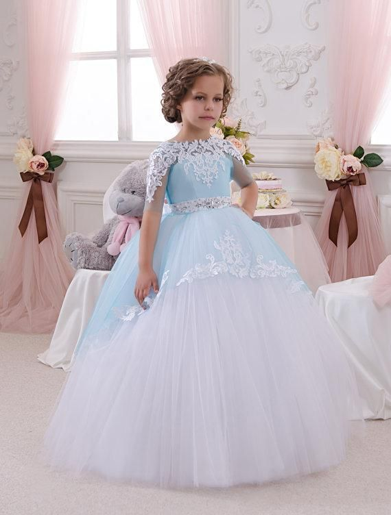 2016 Hot Sale Pretty White And Blue Flower Girl Dress Wedding Party Holiday Birthday Bridesmaid Flower Girl White And Blue Tulle Dress Little Girls Easter Dresses Little Girls Outfits From Liuliu8899, $105.03| Dhgate.Com