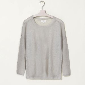 Intropia Sheer Silver Jumper with Cut-out Detail: Linen and nylon fine knit in silver grey with cut-out detail on the shoulder. Round necked style with long sleeves and a straight cut, perfect for any season.